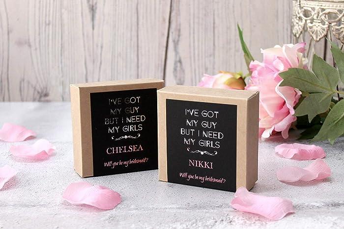 Amazon Com Silver Foil Asking Bridesmaid Gift Box Handmade
