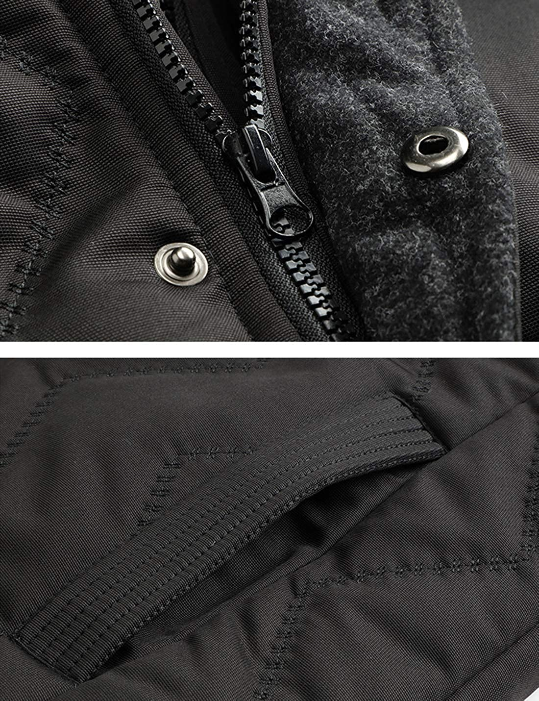 Uaneo Mens Winter Warm Sherpa Lined Cotton Padded Coat Jacket with Detachable Hood