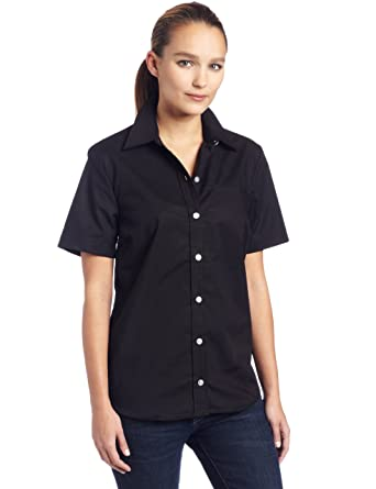 9870c10a2c6f9 Dickies Womens Short Sleeve Stretch Poplin Shirt at Amazon Women's Clothing  store: Button Down Shirts