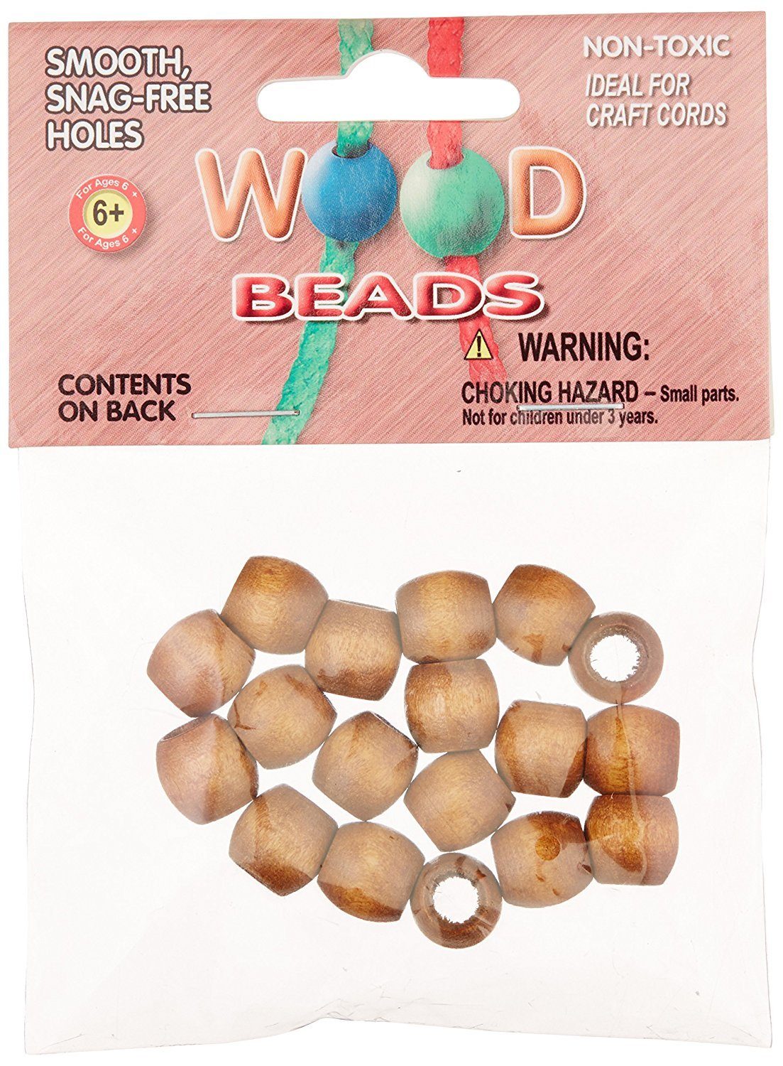 Pepperell PWB1311-02 Barrel Wood Beads 13mm by 11mm Maple 18-Pack