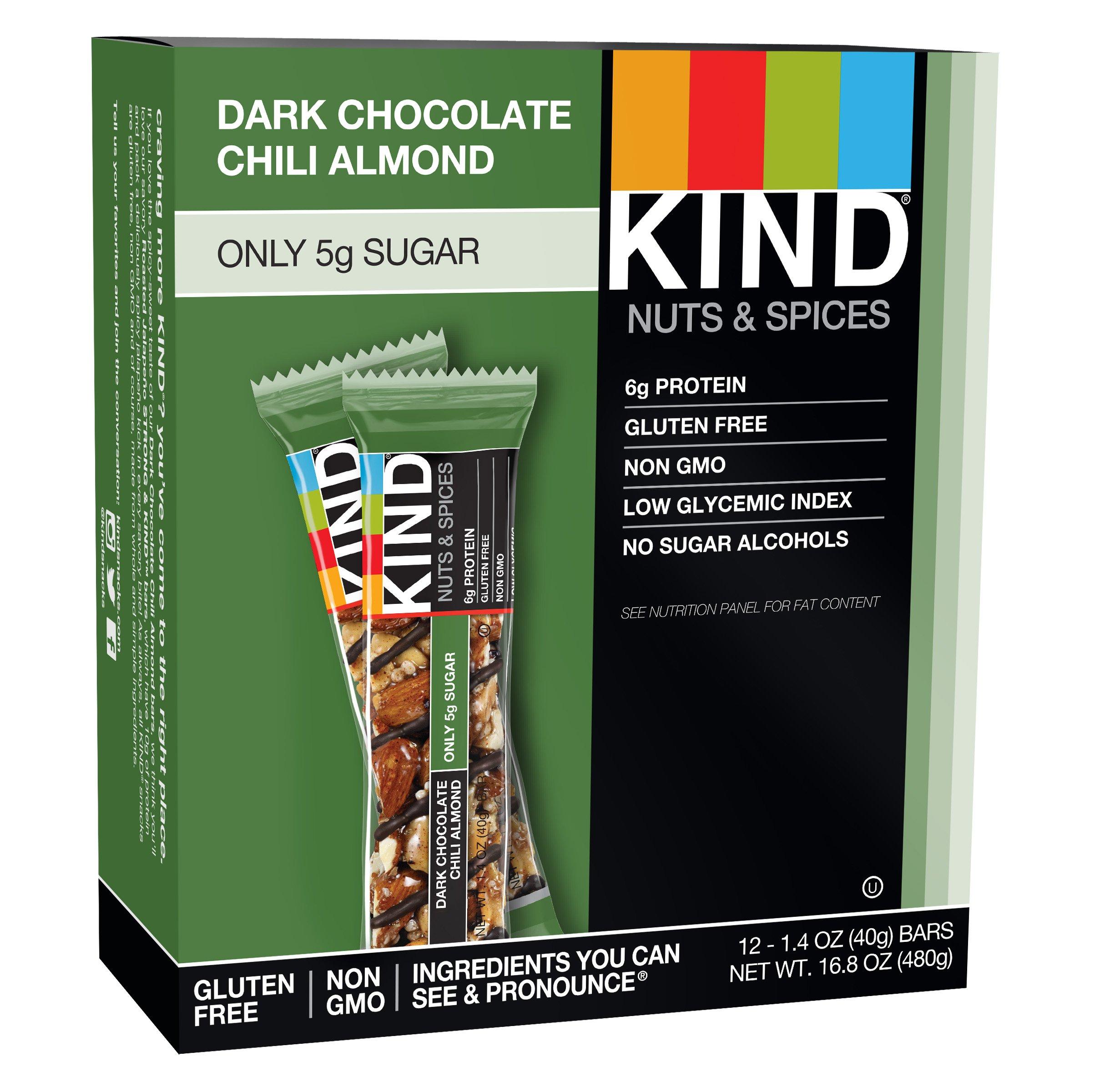 Kind Bars Dark Chocolate Chili Almond Gluten Free 1.4 Ounce Bars 12 Count 18