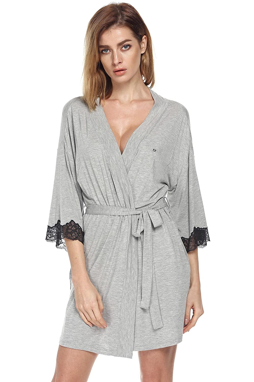 Ekouaer Women's Viscose Kimono Short Robe Sleepwear Dressing Gown (S-XXL) EK002748#