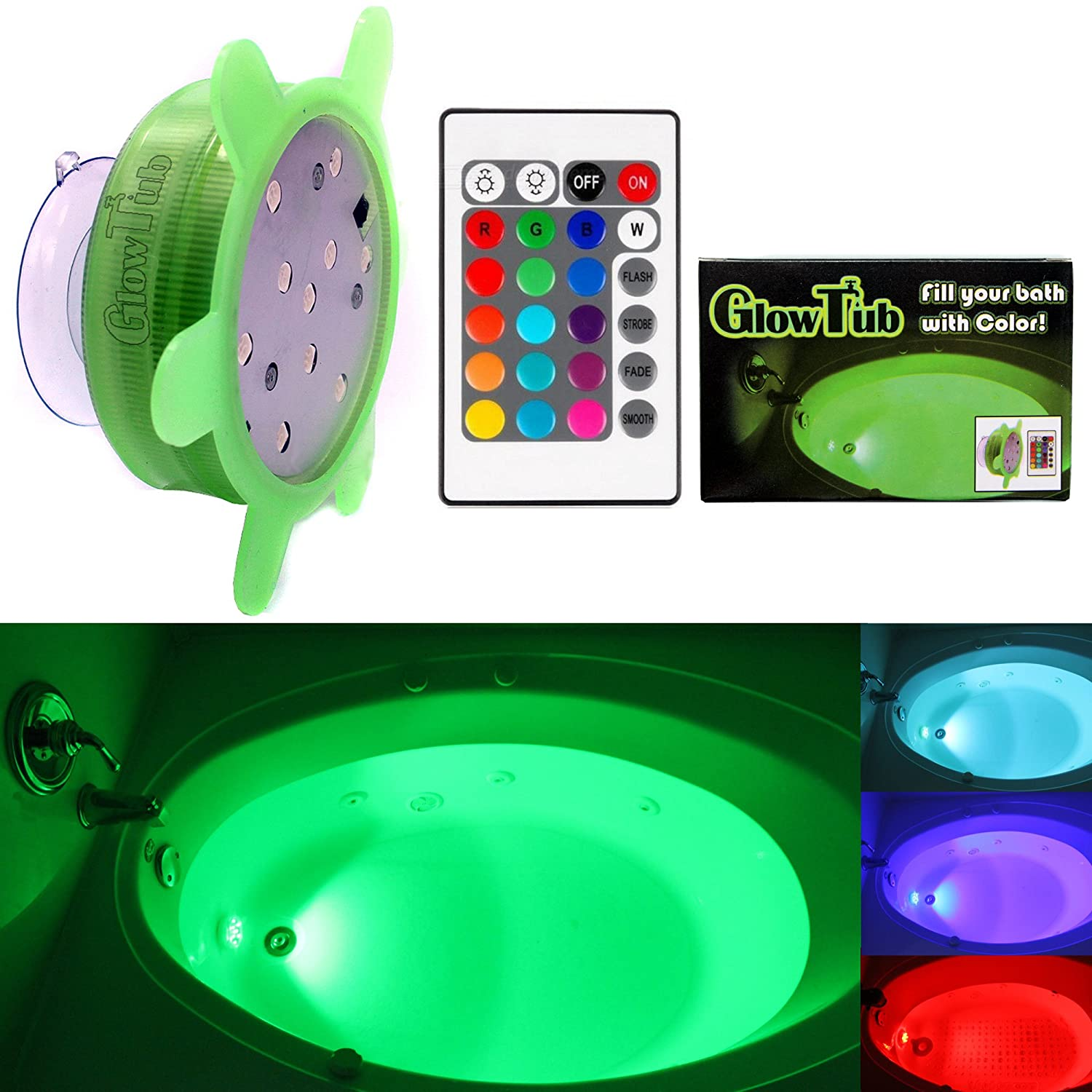 GlowTub Underwater Remote Controlled LED Color Changing Light for bathtub or spa - Battery Operated - V2 Burly Products