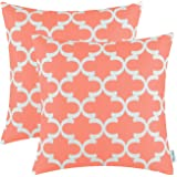 Pack of 2 CaliTime Throw Pillow Covers Cases for Couch Sofa Home Decor, Modern Quatrefoil Accent Geometric, 18 X 18 Inches, Coral Pink