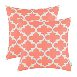 CaliTime Pack of 2 Soft Canvas Throw Pillow Covers Cases for Couch Sofa Home Decor Modern Quatrefoil Accent Geometric 18 X 18 Inches Coral Pink