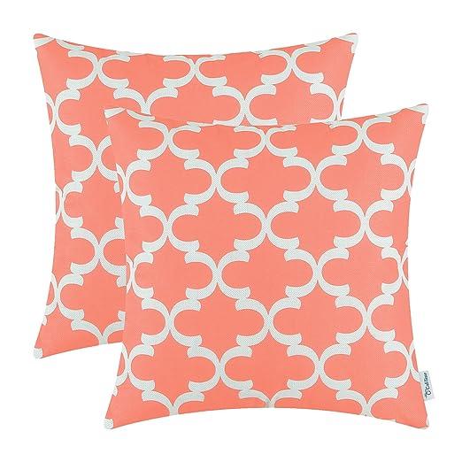 CaliTime Fundas de Cojines Canvas Bolster Paquete de 2 40cm x 40cm Coral Pink Modern Quatrefoil Accent Geometric Throw Pillow Cases