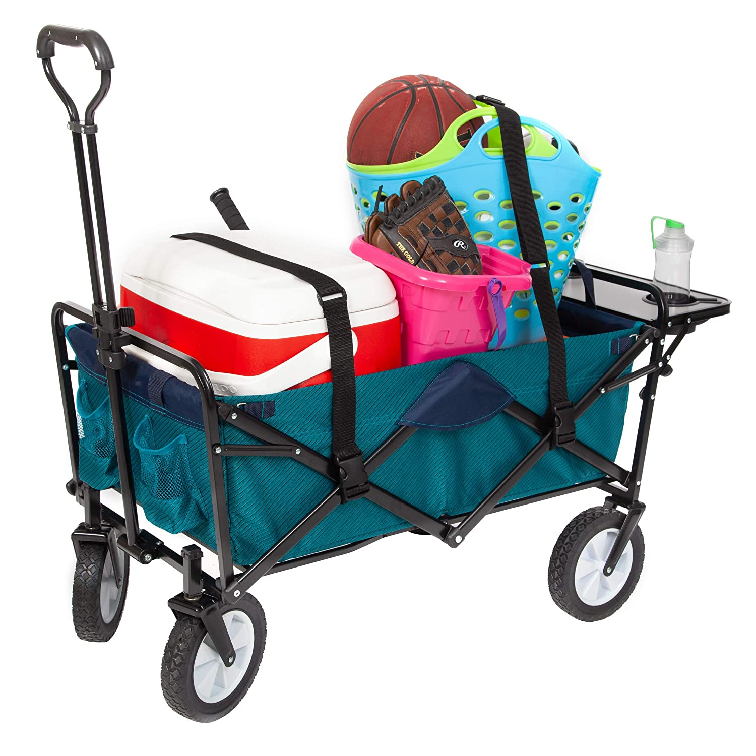 Mac Sports Foldable Heavy Duty Utility Garden Cart Wagon with Table, Bundle Straps – Teal