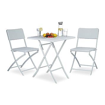 Wunderbar Amazon.de: Relaxdays Gartenmöbel Set BASTIAN, 3 Teilig, Sitzgruppe  Klappbar, Quadratischer Klapptisch Und 2x Gartenstuhl, Weiß