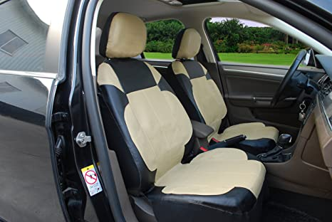 115306 Black Tan Leather Like 2 Front Car Seat Covers Compatible To FORD ESCAPE