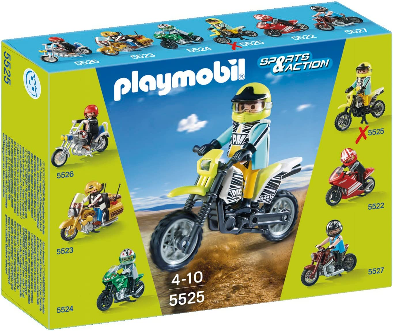 Playmobil racing-moto cross black /& yellow 3044 s205