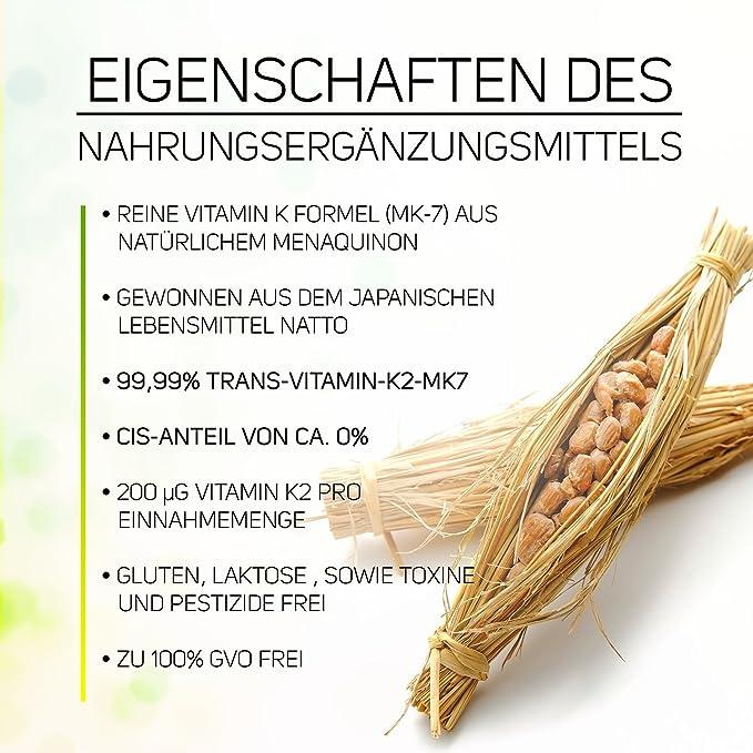 Vitamina D3 5,000 I.U. + Vitamina K2 Menaquinona MK7 200 ?g - 99,99% de forma trans - Contenido de Cis 0% - Polvo vegano 365 porciones sin cápsulas: ...