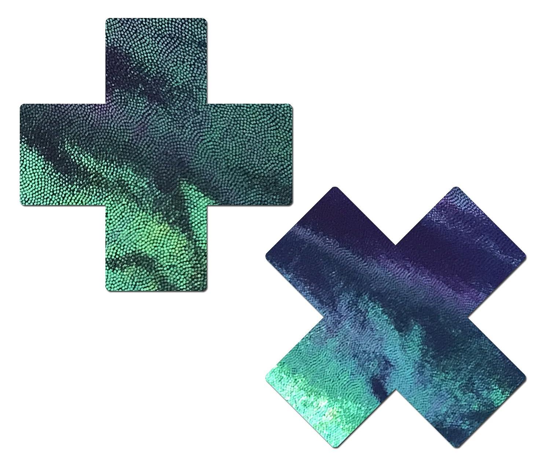Plus X: Liquid Black Opal Iridescent Cross Nipple Pasties by Pastease® o/s PLS-LQ-OB