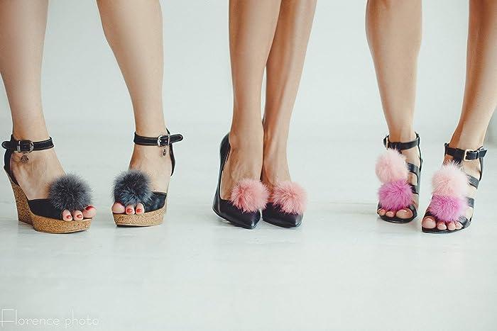 02ac44802898 Amazon.com  Shoe clips Fur Pom Pom for Women Shoes ...