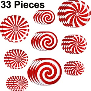 Outus 33 Pieces Peppermint Floor Decals Stickers Christmas Wall Window Decals Stickers for Xmas Decoration Candy Theme Party Supplies (Style 2)