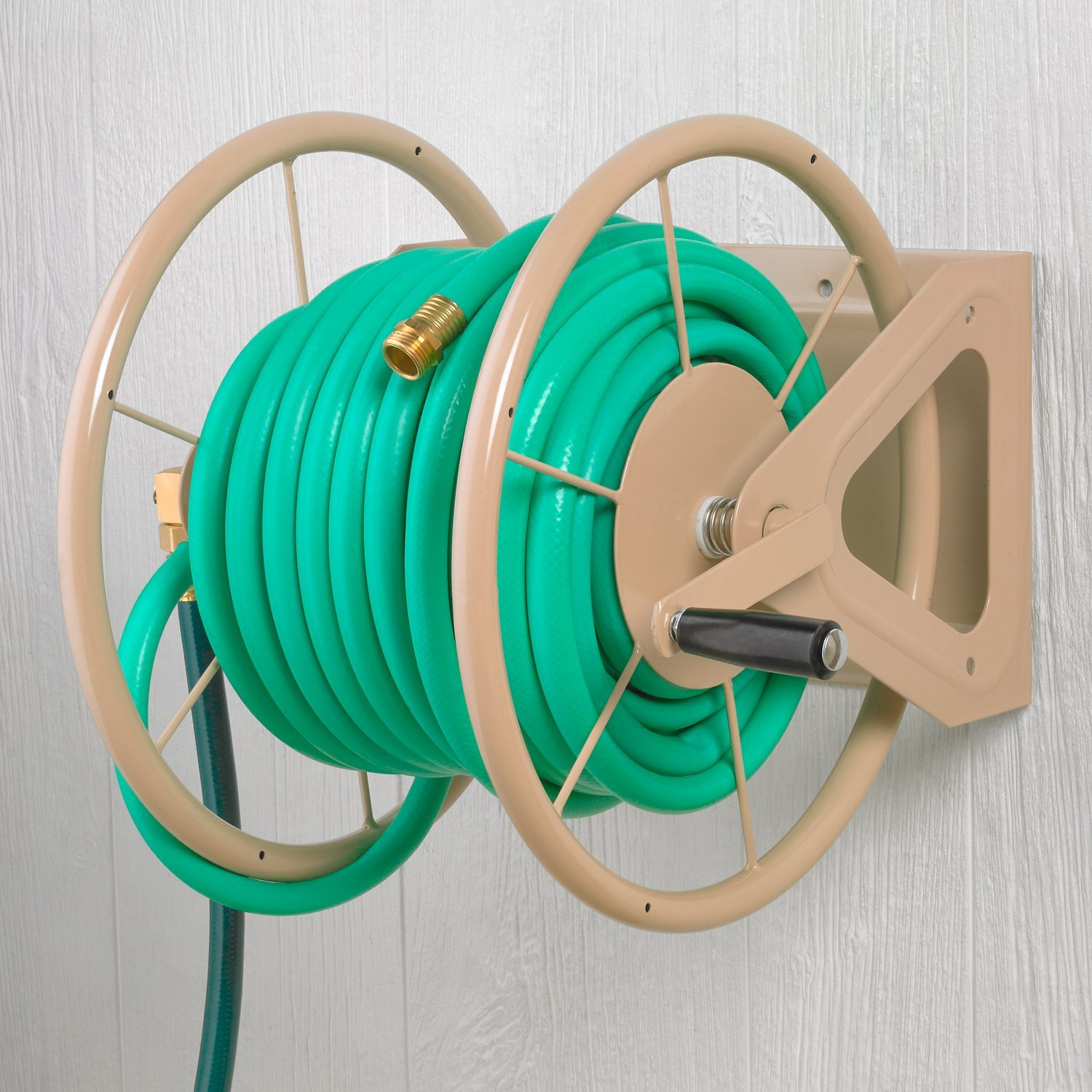 Liberty Garden Products 703 1 Multi Purpose Steel Wall And Floor Mount Garden Hose Reel Holds 200 Feet Of 5 8 Inch Hose Tan Amazon In Garden Outdoors