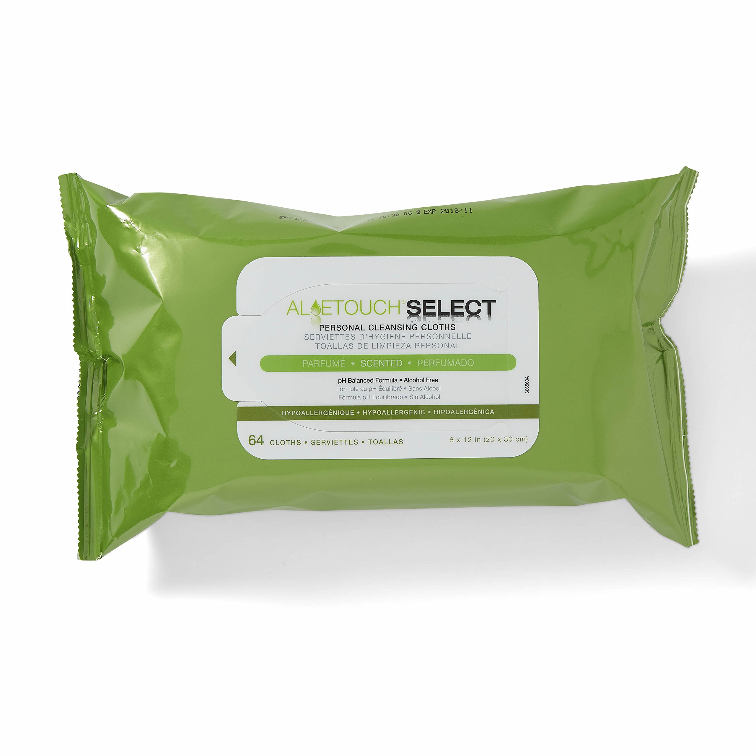 Medline AloeTouch Select Heavyweight Personal Cleansing Cloth Wipes, 576 Count, Scented, 8 x 12 inch Adult Large Incontinence Wipes