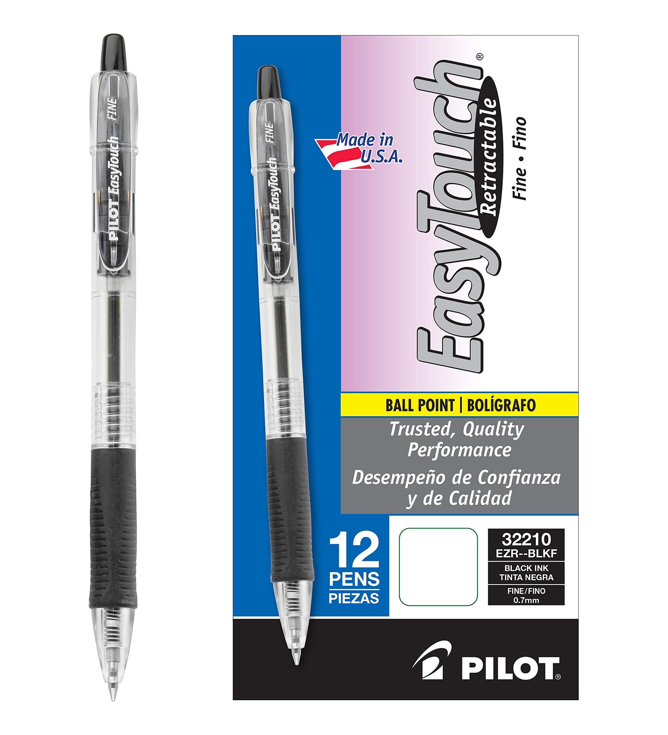 PILOT EasyTouch Refillable & Retractable Ballpoint Pens, Fine Point, Black Ink, 12-Pack (32210)