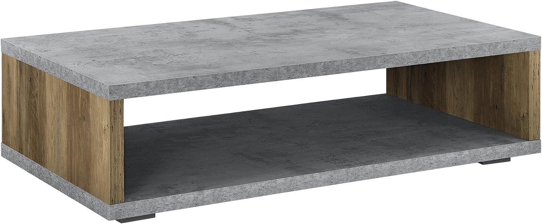 [en.casa] Mesa Auxiliar - Tablero: MDF - 110cm x 60cm x 30cm - Aspecto de hormigón/Apariencia de Madera