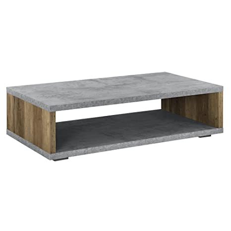 Tavolino Per Salotto Legno.En Casa Tavolino Da Salotto Moderno Effetto Calcestruzzo Legno Telaio In Accaio 110 Cm X 60 Cm X 30 Cm