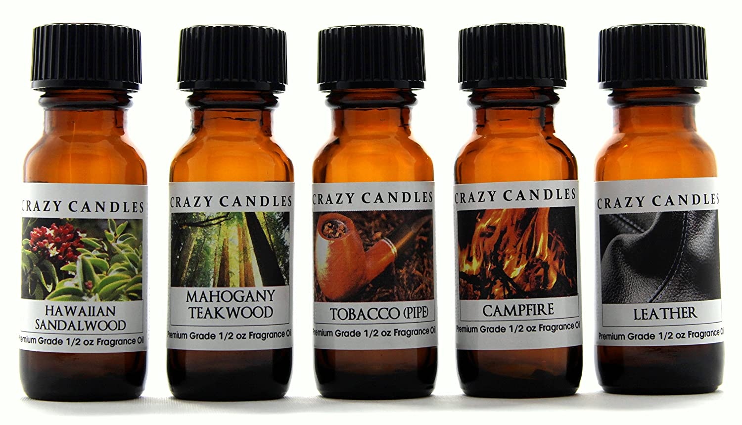 Crazy Candles 5 Bottles Set, 1, Hawaiian Sandalwood 1 Mahogany Teakwood 1 Tobacco (Pipe), 1 Campfire, 1 Leather 1/2 Fl Oz Each (15ml) Premium Grade Scented Fragrance Oils
