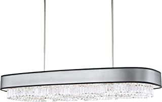 "product image for Schonbek SQ8340N-401A2 12-Light Pendant in Stainless Steel with Spectra Crystal and Zeppa Black Fabric Shade, Lg Rect 4"" Ht"