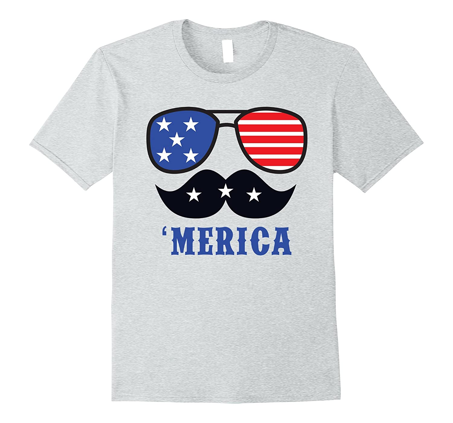 Merica Fourth of July Cool Shades Mustache T-Shirt-Vaci