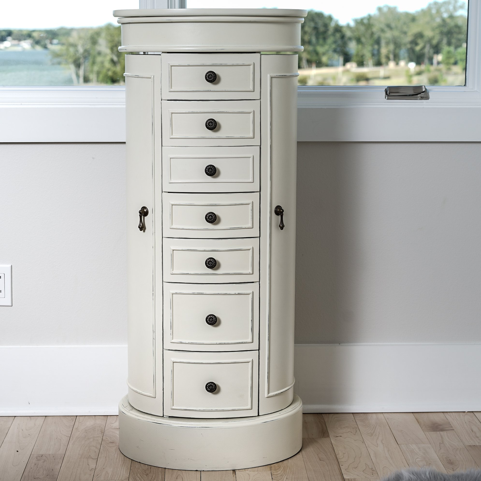 Hives & Honey Bailey Standing Oval Jewelry Armoire, White