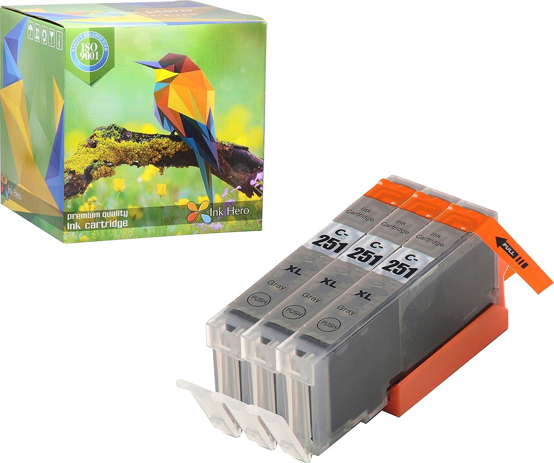 Ink Hero 3グレーインクカートリッジfor cli-251 pgi-250 Pixma ip8720 mg6320 mg7120 mg7520プリンタインクジェットプリンタ用インク B073XP9KKM