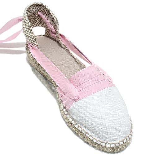 Espardenya.cat Alpargatas Hechas a Mano Tradicionales de Media Cuña Diseño Tres Vetas Color Rosa Claro: Amazon.es: Zapatos y complementos