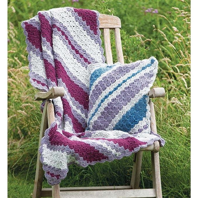 Wendy 9565 Crochet patrón Diagonal rayas manta y cojín en ...