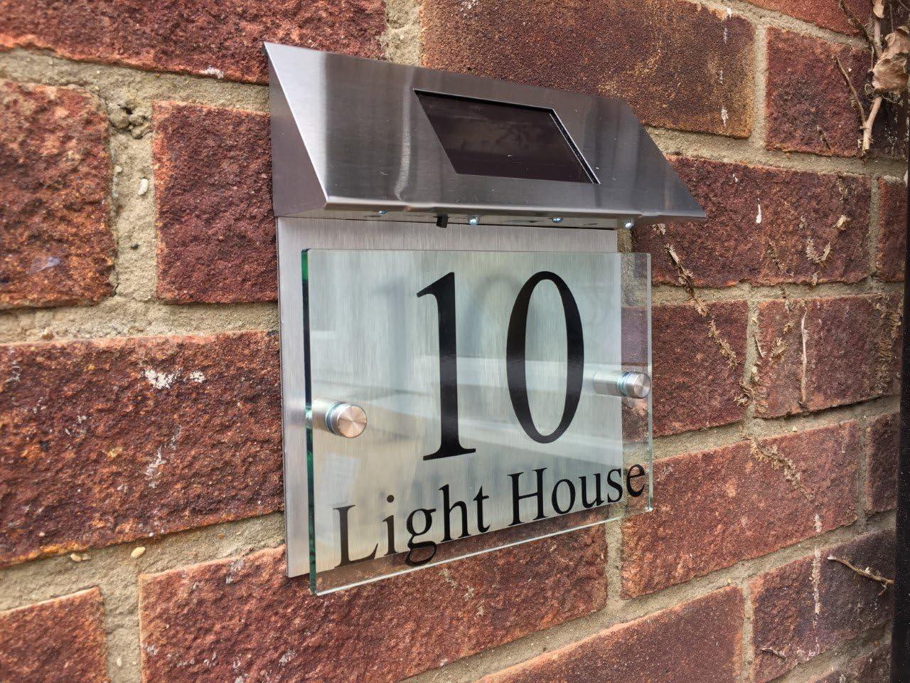 MODERN HOUSE SIGN PLAQUE DOOR NUMBER STREET GOLD METAL GLASS EFFECT SOLAR LIGHT