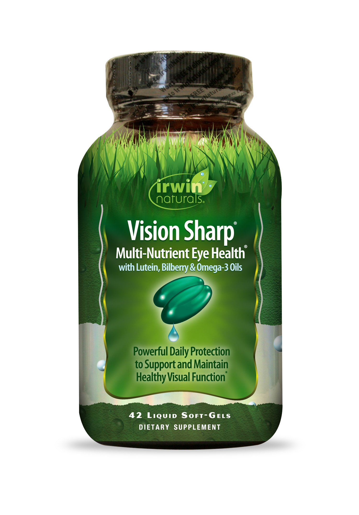 Vision Sharp by Irwin Naturals, Multi-Nutrient Eye Health with Lutein, Bilberry and Omega-3 Oils, 42 Liquid Softgels