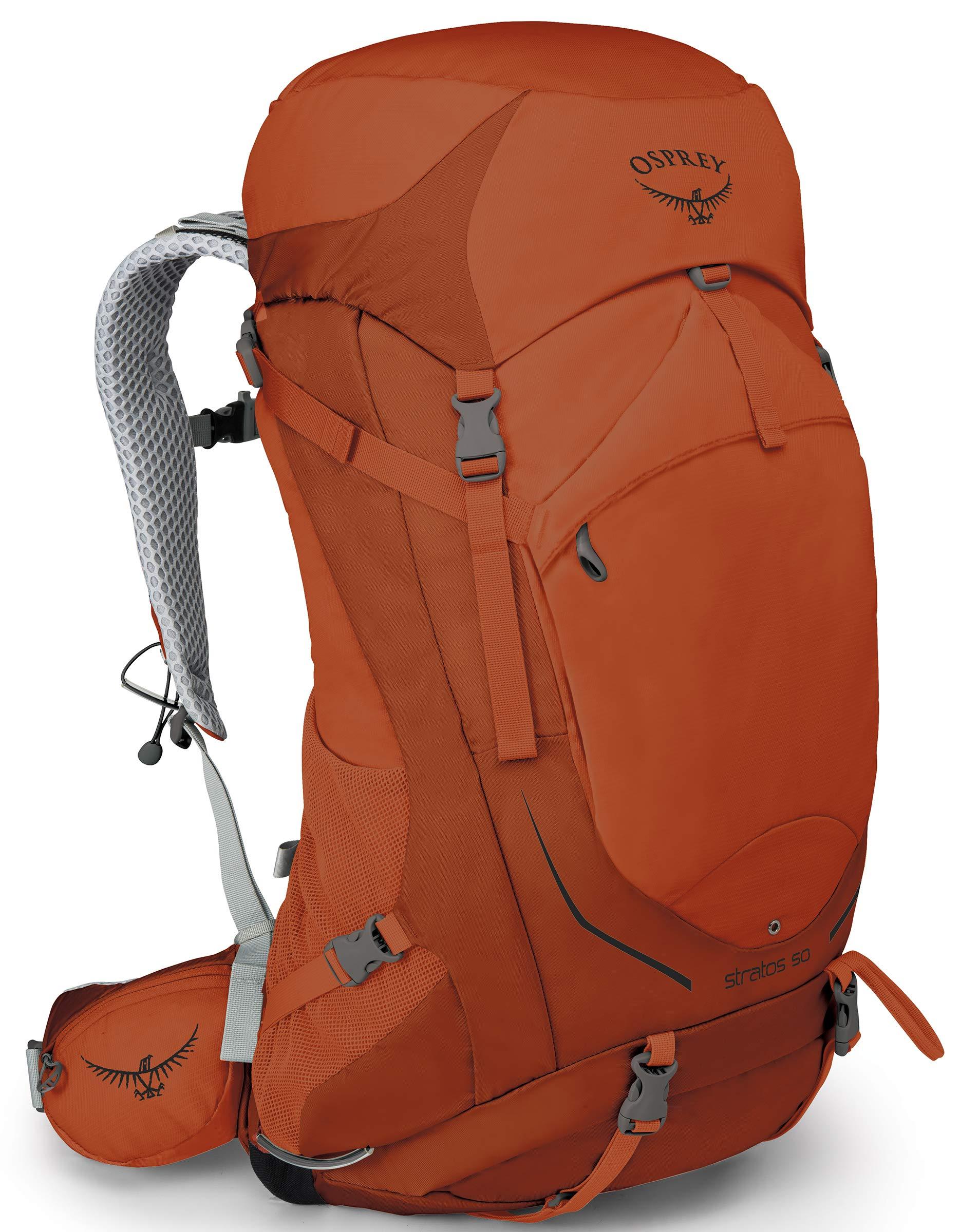 Osprey Packs Stratos 50 Backpacking Backpack, Sungrazer Orange, Small/Medium