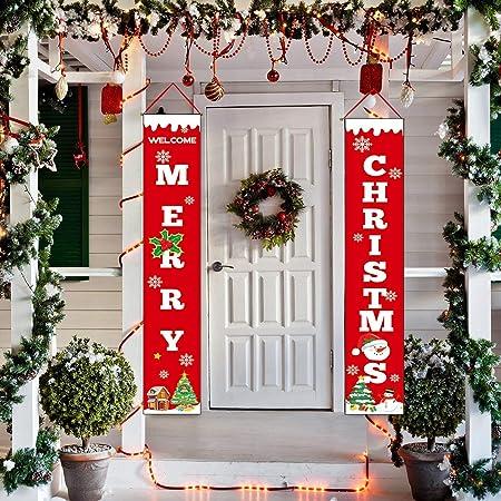 JoyTplay 2Piezas Bandera de Feliz Navidad para Decoraciones ...