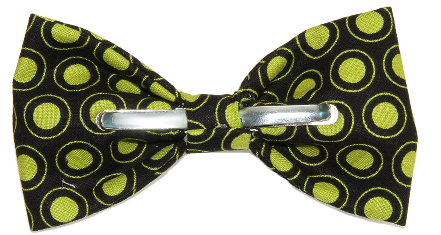 Mens Black With Green Dots Clip On Cotton Bow Tie Novelty Bowtie