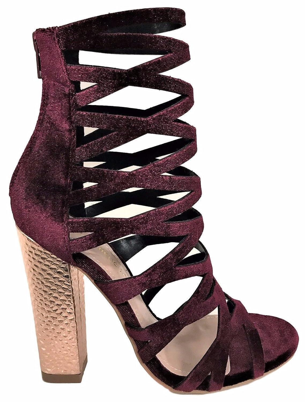 c3bc09d803cc7 Amazon.com | Shoe Republic Shimmy Cage Gladiator Velvet Metallic ...