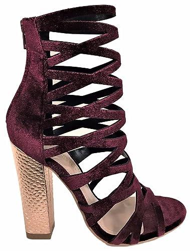 8010a31d52 Amazon.com   Shoe Republic Shimmy Cage Gladiator Velvet Metallic Block Heel  Sandal Bootie Shoe Wine   Sandals