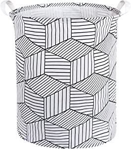 HIYAGON Large Laundry Hamper,Waterproof Laundry Baskets,Collapsible Canvas Basket for Kids Room,Toy Organizer,Home Decor,Nursery Hamper (White Rhombus)