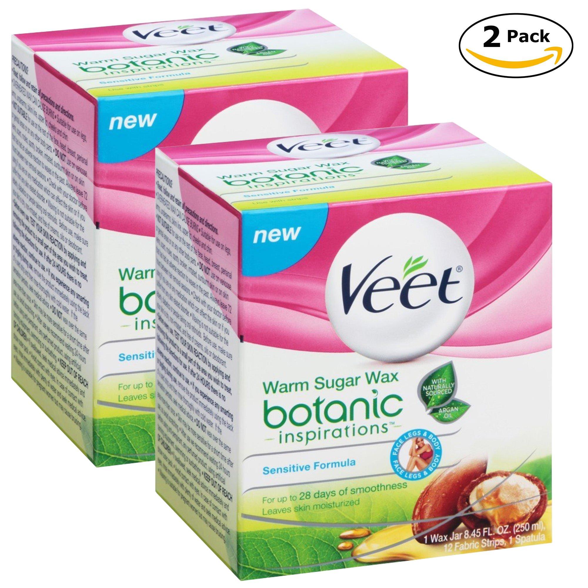Veet Botanic Warm Sugar Wax Jar 8.45oz (Sensitive) (2 Pack)