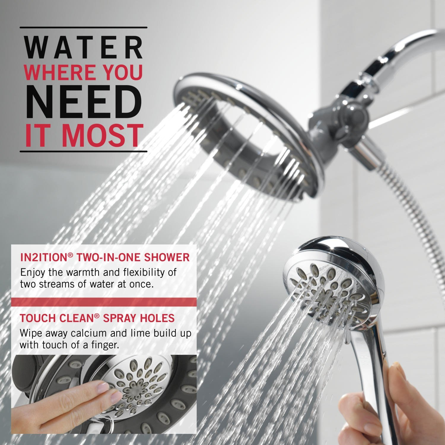 Delta 58065 In2ition Two In One Shower, Chrome   Bathtub And Showerhead  Faucet Systems   Amazon.com
