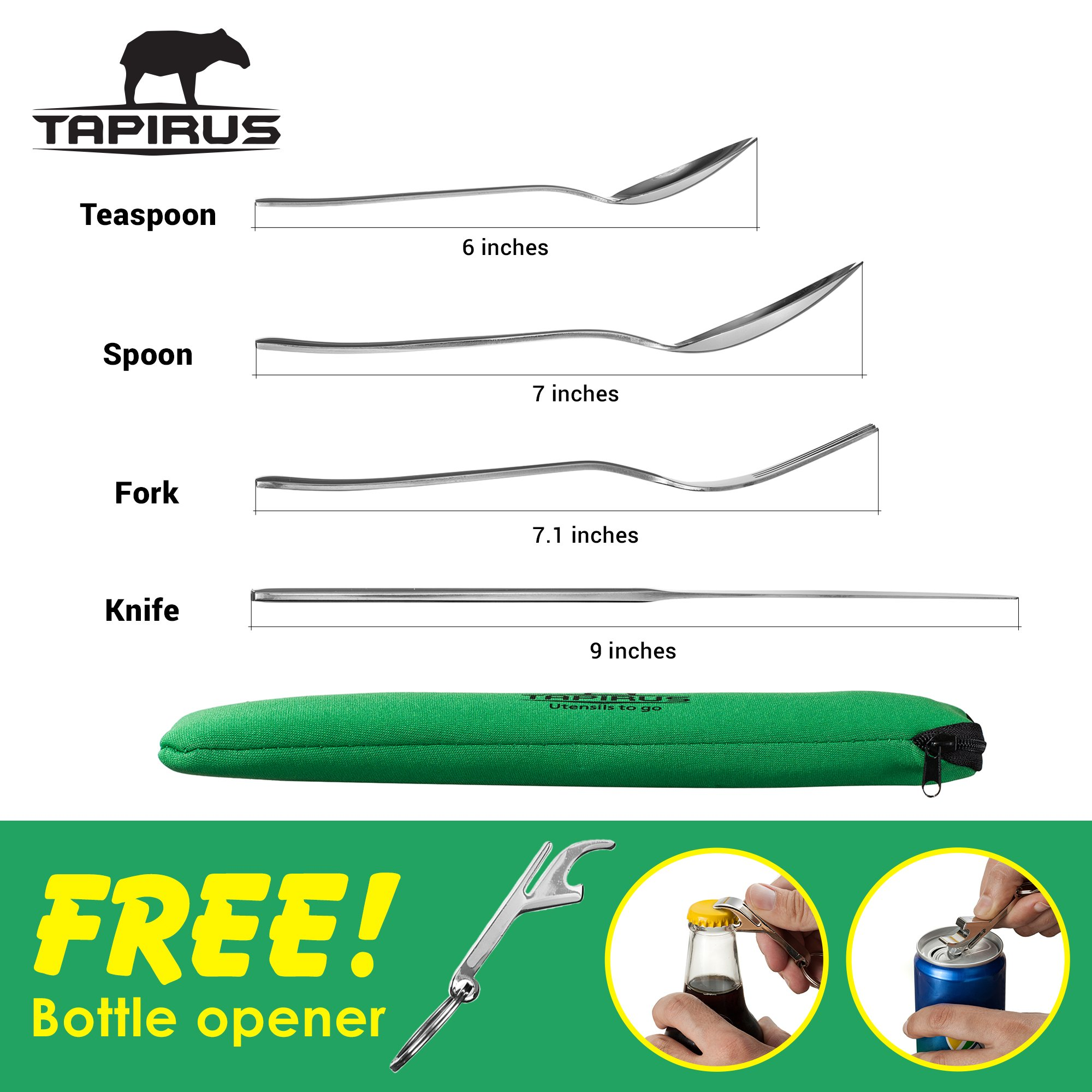 Tapirus Camping Eating Utensils To Go   Durable Stainless Steel Lightweight Construction Flatware   Travel Mess Cutlery Kit With Spoon, Teaspoon, Knife, Fork & Bottle Opener   Comes In A Carrying Case by Tapirus (Image #3)