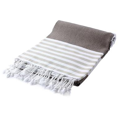 Cacala Marina Series Peshtemal Turkish Hammam Bath Towels, Traditional Peshtemal Design for Bathrooms, Beach, Sauna, Ultra-Soft, Fast-Drying 37x70 100% Natural Cotton Coffee