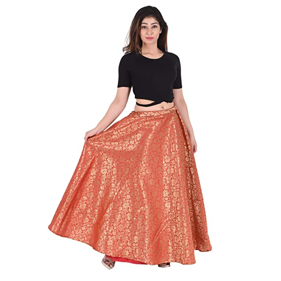 outlet great deals on fashion los angeles SNEH Women's Banarasi Silk Skirt (SN021, Red, Free Size ...