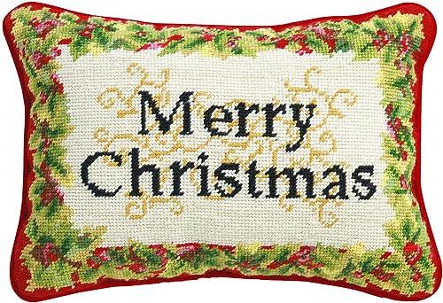 Peking Handicraft Merry Christmas Needlepoint Lumbar Pillow