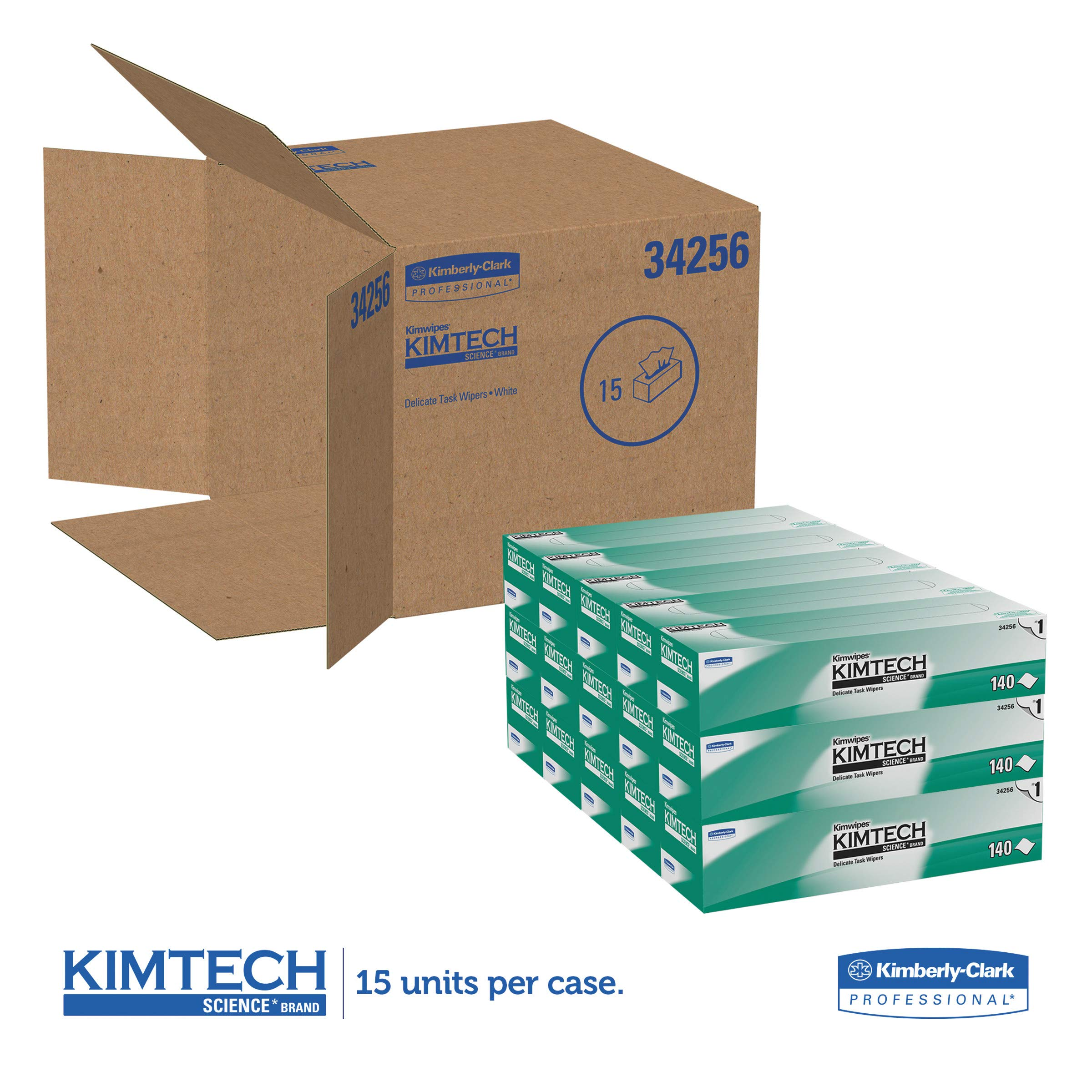 Kimtech 34256CT Kimwipes Delicate Task Wipers, 1-Ply, 14 7/10 x 16 3/5, 140 per Box (Case of 15 Boxes)