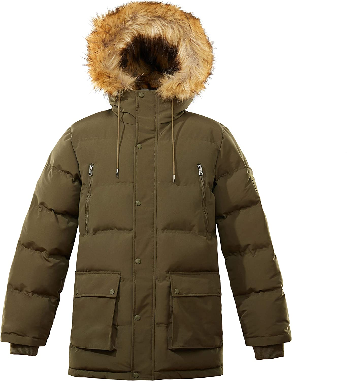 WNSY Men Slim Fit Winter Faux Fur Lined Hoodie Warm Outdoor Jacket Parka Coat