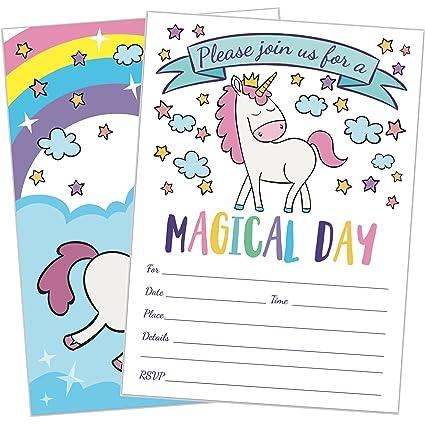 amazon com 25 magical unicorn birthday party invitations 5x7 fill