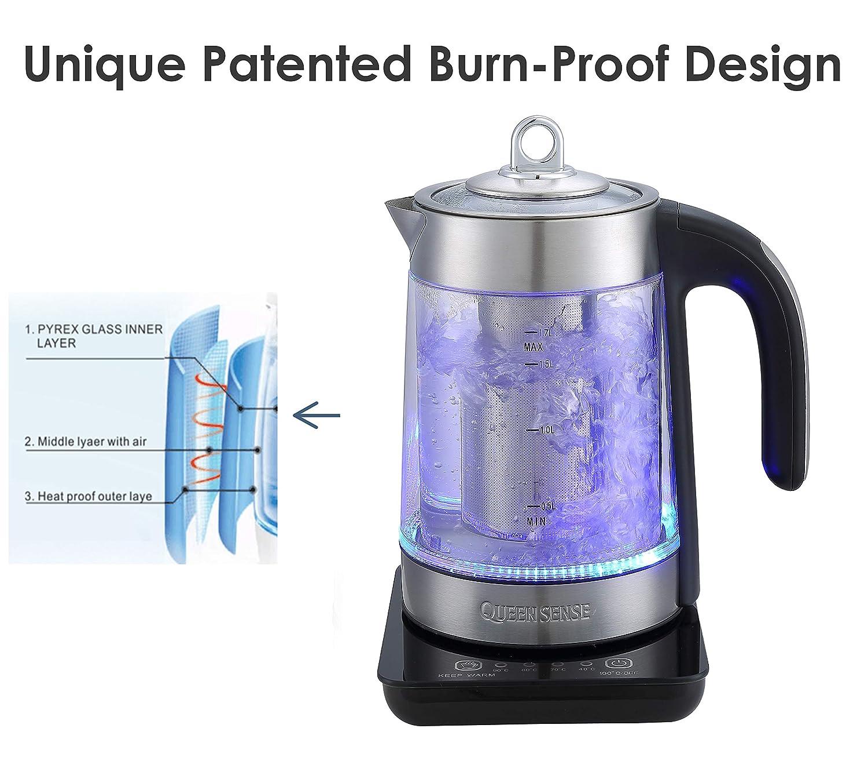 QUEEN SENSE Electric Glass Temperature Control Kettle (BPA Free),Mesh Filter, Glass Tea Kettle, Blue Light, 1500W, Double Wall, Cordless, Hot Water Kettle,Tea Pot (GK2007AT)