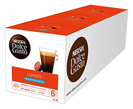 NESCAFÉ Dolce Gusto Lungo Decaffeinato | 48 Kaffeekapseln | Entkoffeiniert | 100% Arabica Bohnen aus Südamerika | Feine Crema