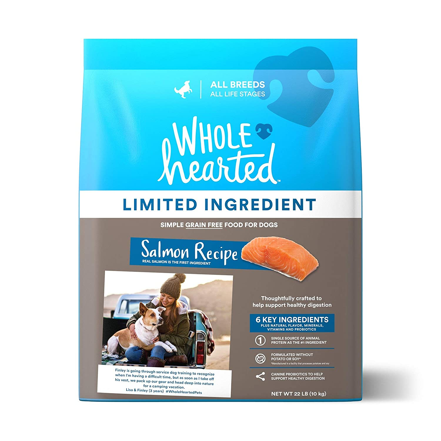 WholeHearted Grain Free Limited Ingredient Salmon Recipe Dry Dog Food for All Life Stages and Breeds